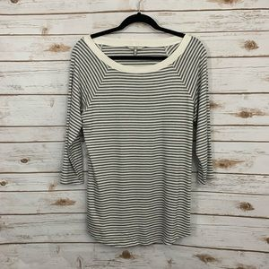 BKE Buckle Gray Cream Striped Lace Up Side Top